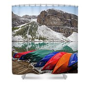 Moraine Lake Canoes Shower Curtain