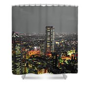 Mostly Black And White Tokyo Skyline At Night With Vibrant Selective Colors Shower Curtain