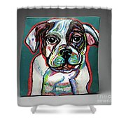 Neon Bulldog Shower Curtain