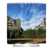 North Dome And Half Dome, Yosemite National Park Shower Curtain