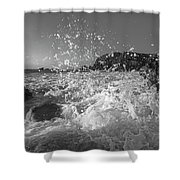 Ocean Wave Splash In Black And White Shower Curtain
