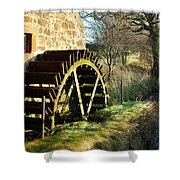 old mill wheel and stream at Preston Mill, East Linton Shower Curtain
