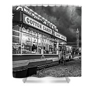 On The Midway - Temptations Of The Night 4 Bw Shower Curtain