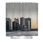 Panoramic View Of Manhattan Island And The Brooklyn Bridge At Su Shower Curtain