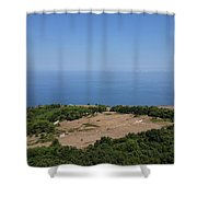 Photography View Over The Mountain Village Erice In Sicily Shower Curtain