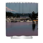 Pink Purple Glow Over Mount Rainier And Gig Harbor Marina After Sunset Shower Curtain