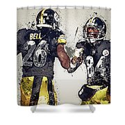 Pittsburgh Steelers.le'veon Bell And Antonio Brown Shower Curtain