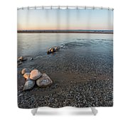 Platte River Mouth At Sunset Shower Curtain
