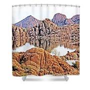 Prescott Arizona Watson Lake Rocks, Hills Water Sky Clouds 3122019 4868 Shower Curtain
