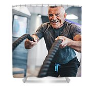 Senior Man Exercising With Ropes At The Gym. Shower Curtain
