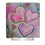 Seven Hearts Shower Curtain