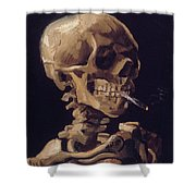 Skull With Cigarette  Shower Curtain
