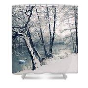Snow Pond Shower Curtain