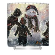 Snowman And Three Boys Shower Curtain