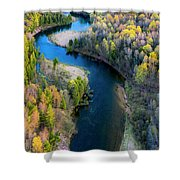Springtime On The Manistee River Aerial Shower Curtain