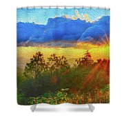 Sunrise On Mount Mitchell Digital Painting Shower Curtain by Alex Grichenko