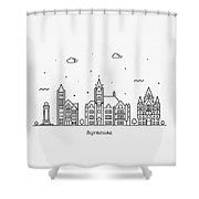 Syracuse, New York Cityscape Travel Poster Shower Curtain