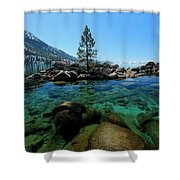 Tahoe Northern Island Shower Curtain by Sean Sarsfield