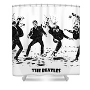 The Beatles Black And White Watercolor 01 Shower Curtain