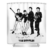 The Beatles Black And White Watercolor 02 Shower Curtain