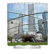 The Great Lawn, Trellis, Bandshell And Jay Pritzker Pavilion, Mi Shower Curtain