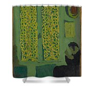 The Green Interior  Figure Seated By A Curtained Window   Shower Curtain