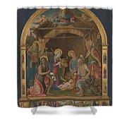 The Nativity With Saints Altarpiece  Shower Curtain
