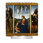 Three Panels From An Altarpiece  Certosa  Shower Curtain
