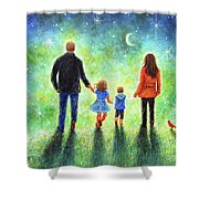 Twilight Walk With Mom And Dad Shower Curtain