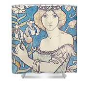 Vintage Poster - Woman With Flower Shower Curtain