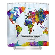 Watercolor World Map Custom Text Added Shower Curtain