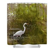 White Heron Shower Curtain