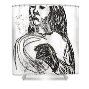 Woman Holding A Hat Shower Curtain
