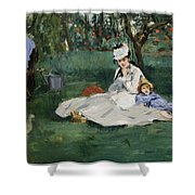 The Monet Family In Their Garden At Argenteuil  Shower Curtain
