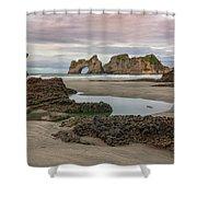 Wharariki Beach - New Zealand Shower Curtain