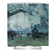 Arrival Of The Normandy Train, Gare Saint-lazare Shower Curtain by Claude Monet