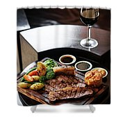 Sunday Roast Beef Traditional British Meal Set On Table Shower Curtain