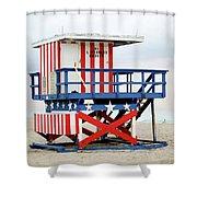 13th Street Lifeguard Tower - Miami Beach Shower Curtain