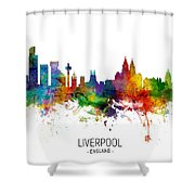 Liverpool England Skyline Shower Curtain
