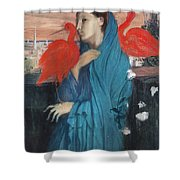 Young Woman With Ibis  Shower Curtain