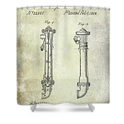 1859 Fire Hydrant Patent Shower Curtain