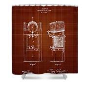 1876 Brewing Cooler - Dark Red Blueprint Shower Curtain