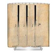 1879 Billiard Cue Antique Paper Patent Print Shower Curtain