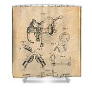 1880 Military Saddle Patent Print Antique Paper Shower Curtain