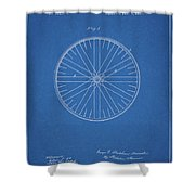 1885 Bicycle Wheel Patent Shower Curtain