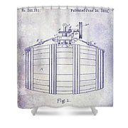 1888 Whiskey Or Beer Barral Patent Blueprint Shower Curtain