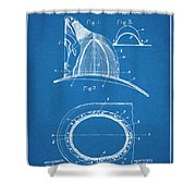 1889 Hopkins Fireman's Hat Blueprint Patent Print Shower Curtain