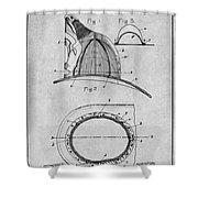 1889 Hopkins Fireman's Hat Gray Patent Print Shower Curtain
