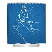 1891 Horse Harness Attachment Patent Print Blueprint Shower Curtain