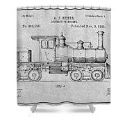 1891 Huber Locomotive Engine Gray Patent Print Shower Curtain